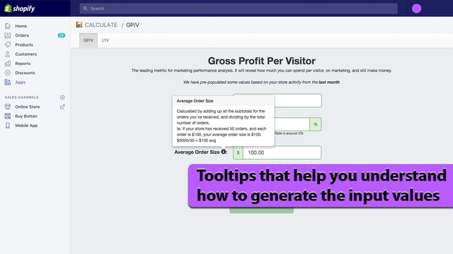 Tooltips that help you understand how to generate the input valu