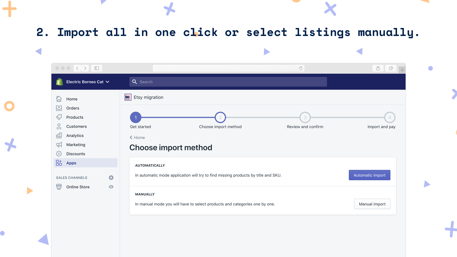 Import all in one click or select listings manually.