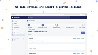 Go into details and import selected sections.