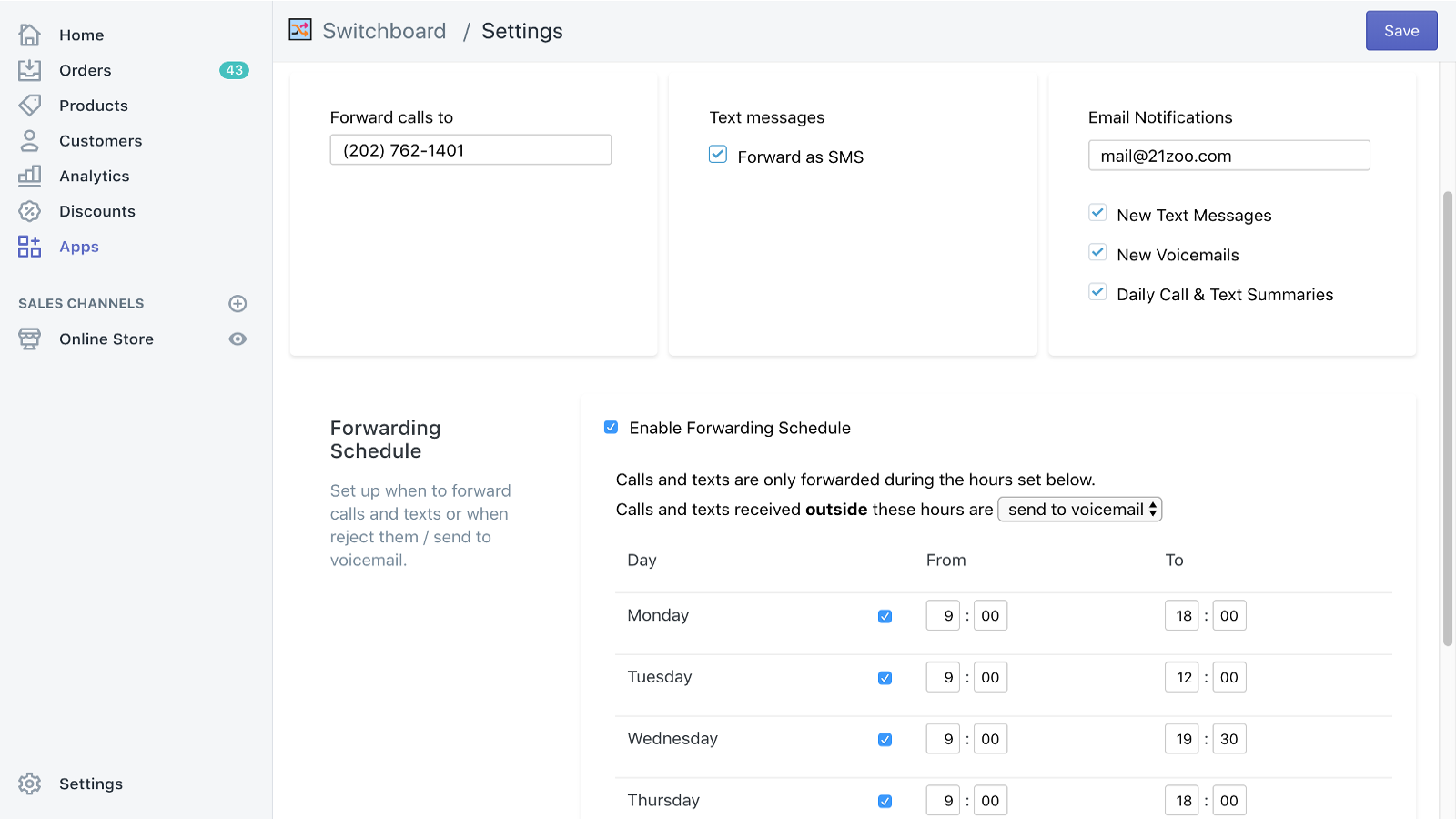 Settings and Schedule