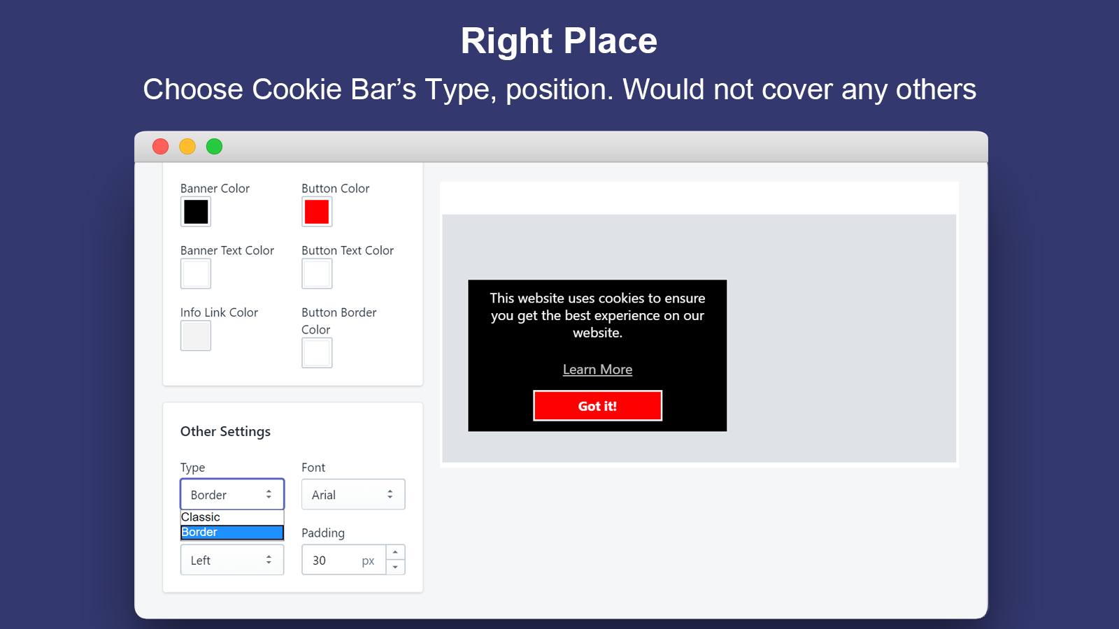 Right Place_Announcement Bar&GDPR Consent