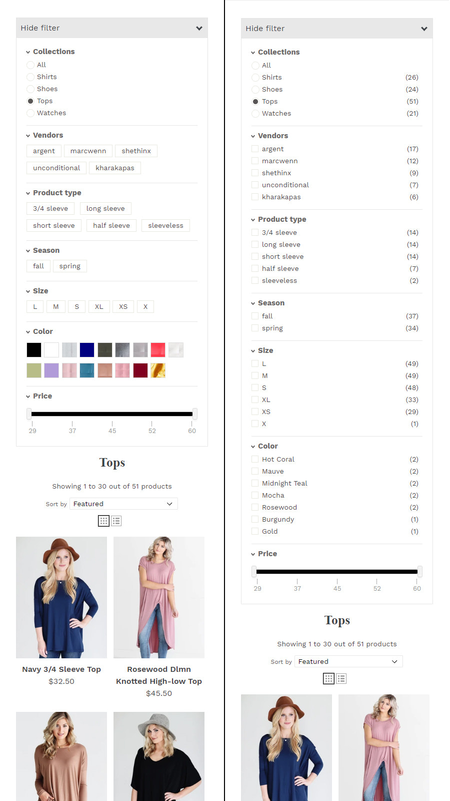 Mobile Collections Filter List and Box View Comparison