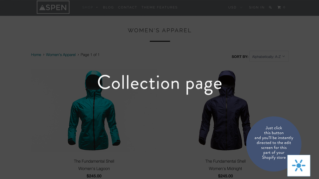 Product page edit button