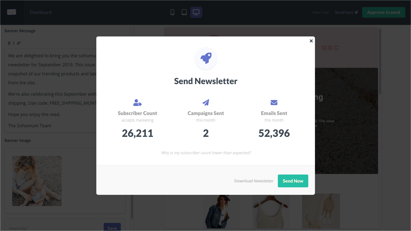 Approve content, then export or send newsletters
