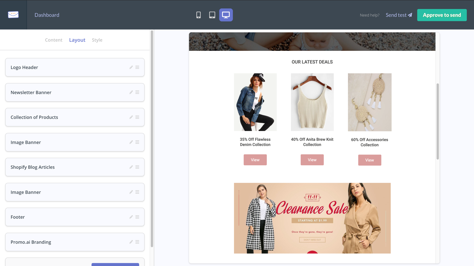 Customize the layout, content, and style