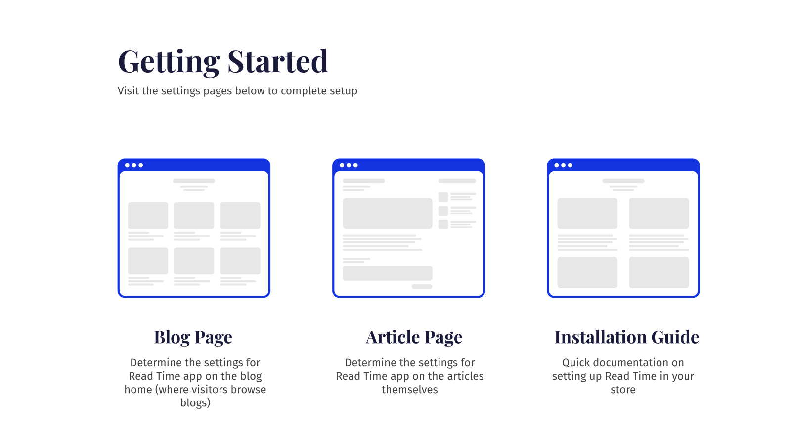 Getting started page for read time app