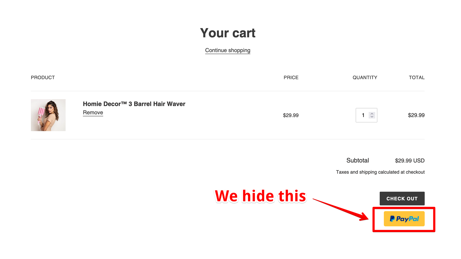 Hide Paypal in cart page