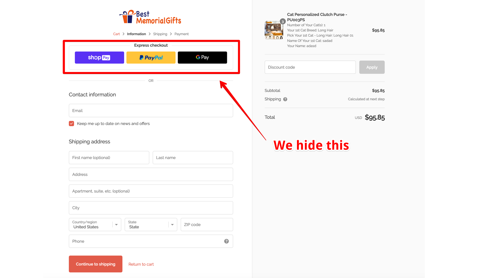 Hide Paypal in checkout page