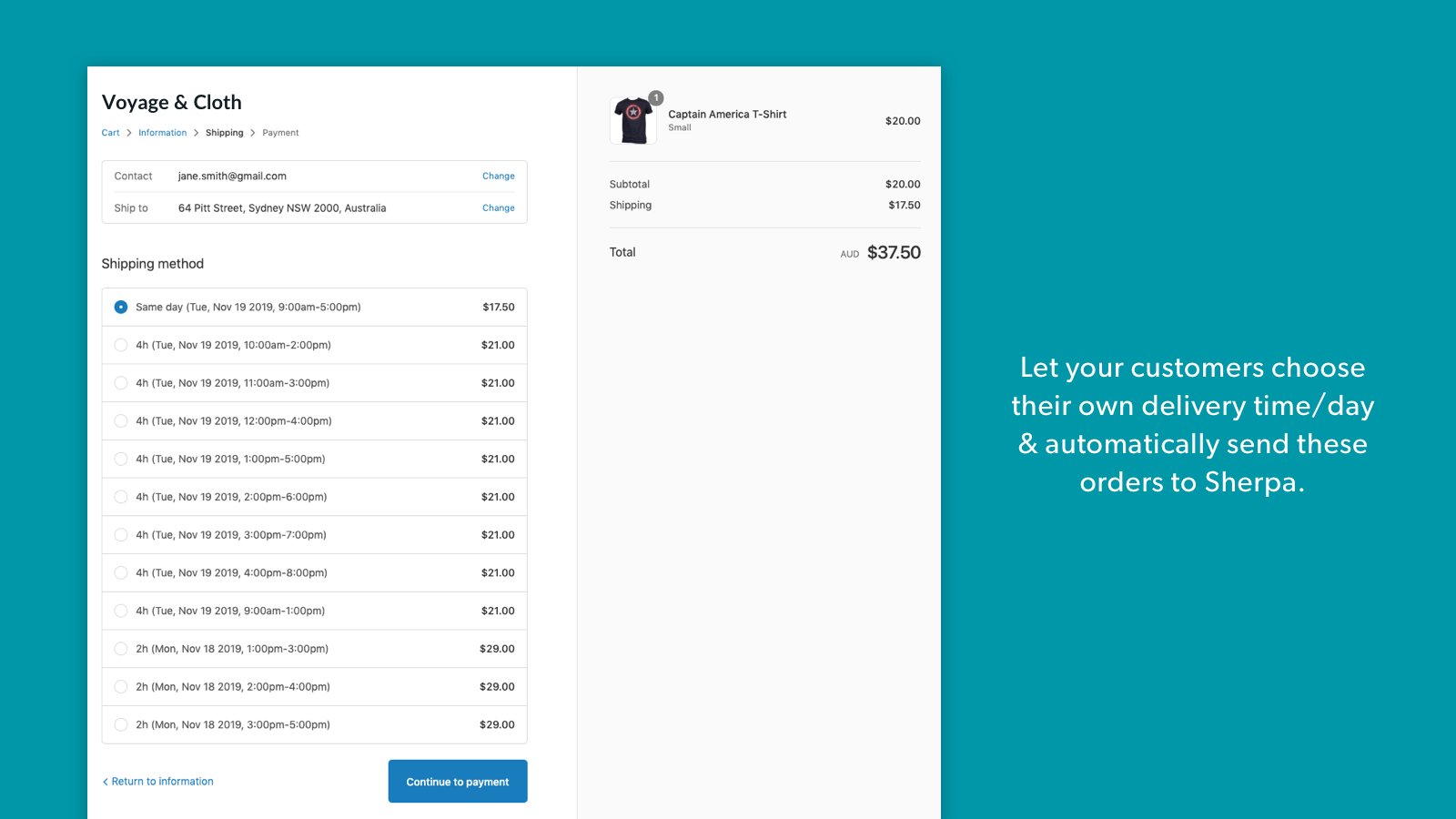 Shipping options on checkout