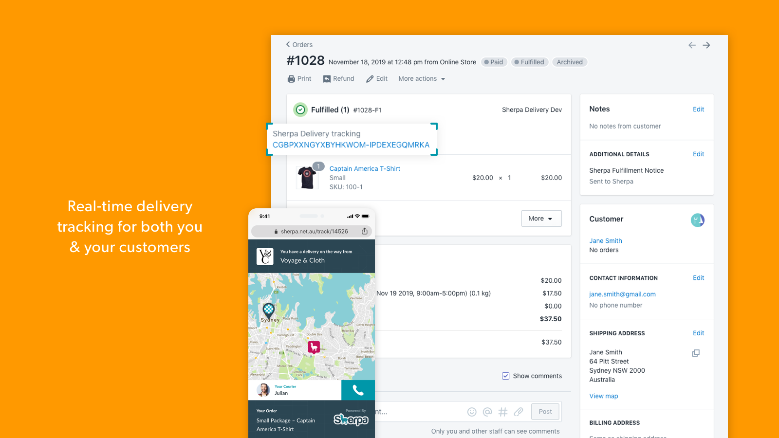 Real-time delivery tracking