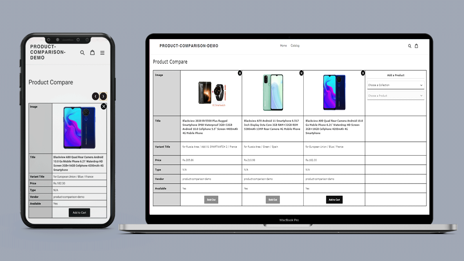 Product Compare page