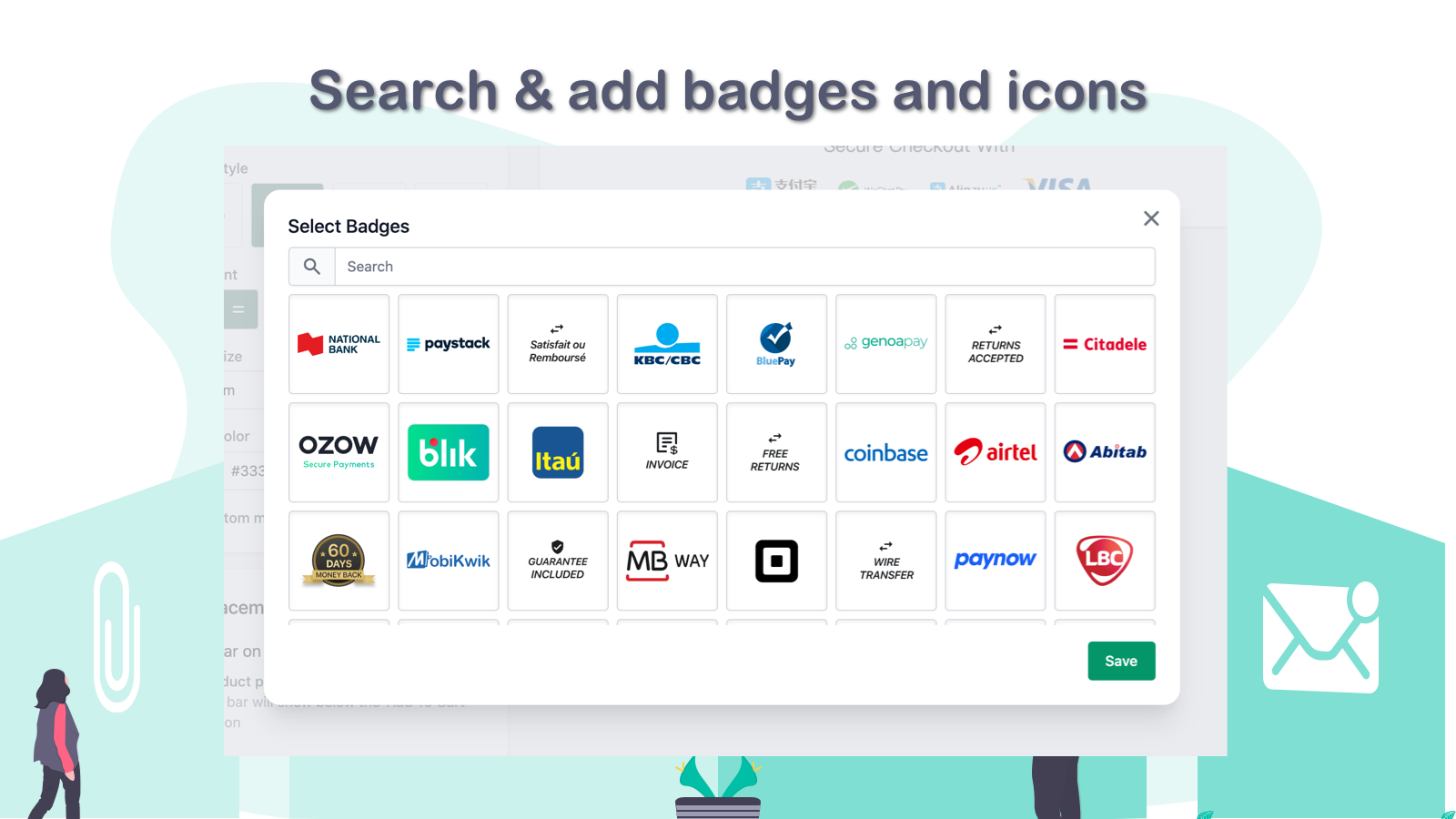 Search & add badges and icons