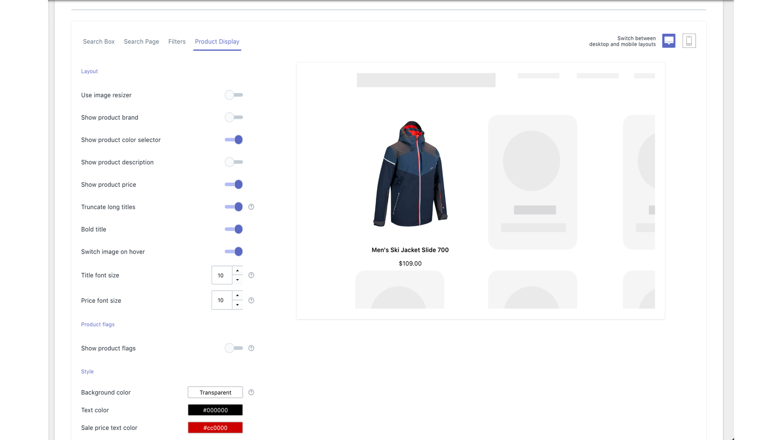 Shopify App View: Customize Search Filters
