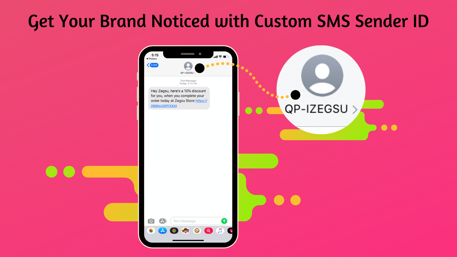 Custom SMS sender ID for abandonment protector SMS reminders