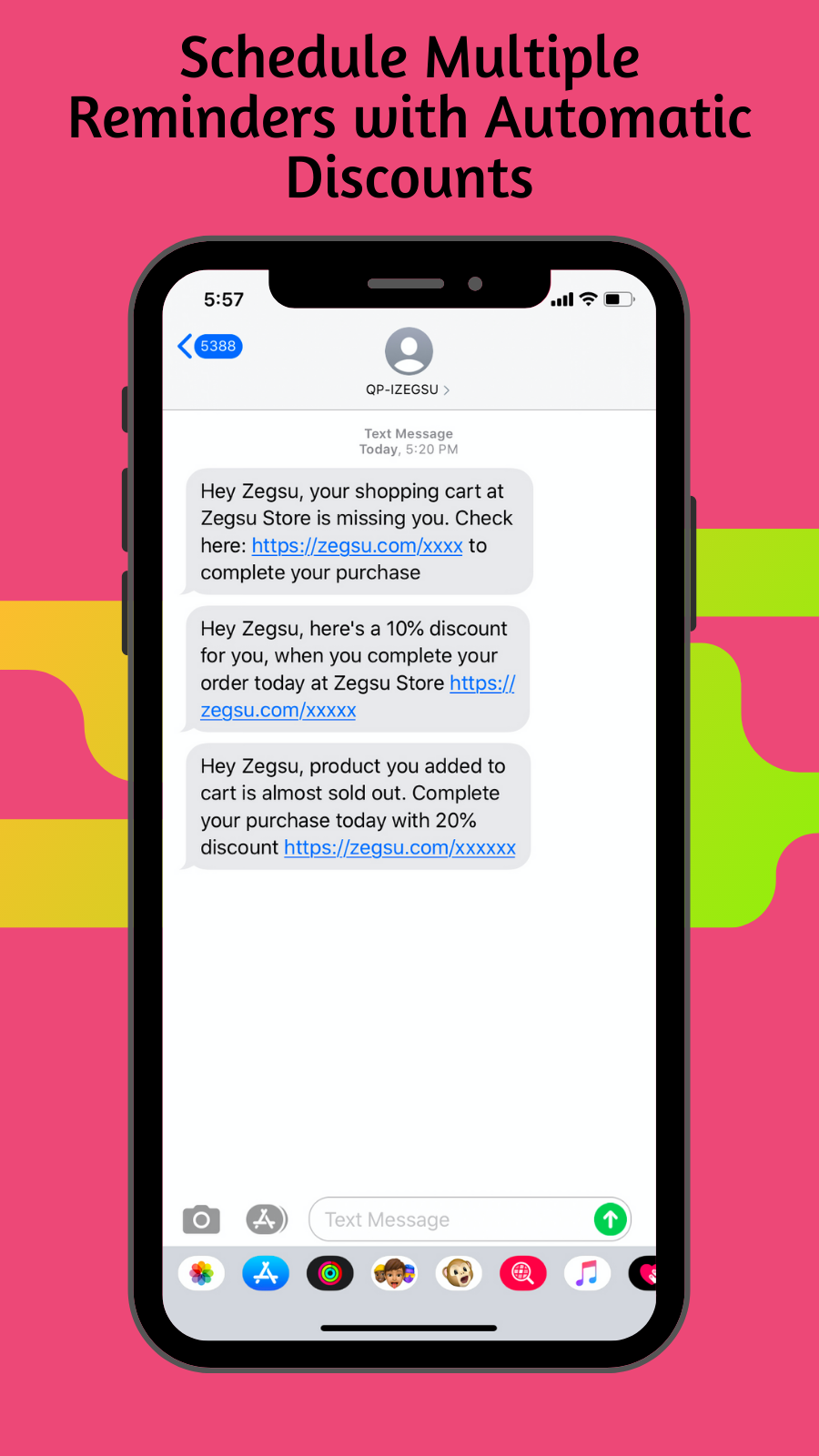 SMS notifications for order status update