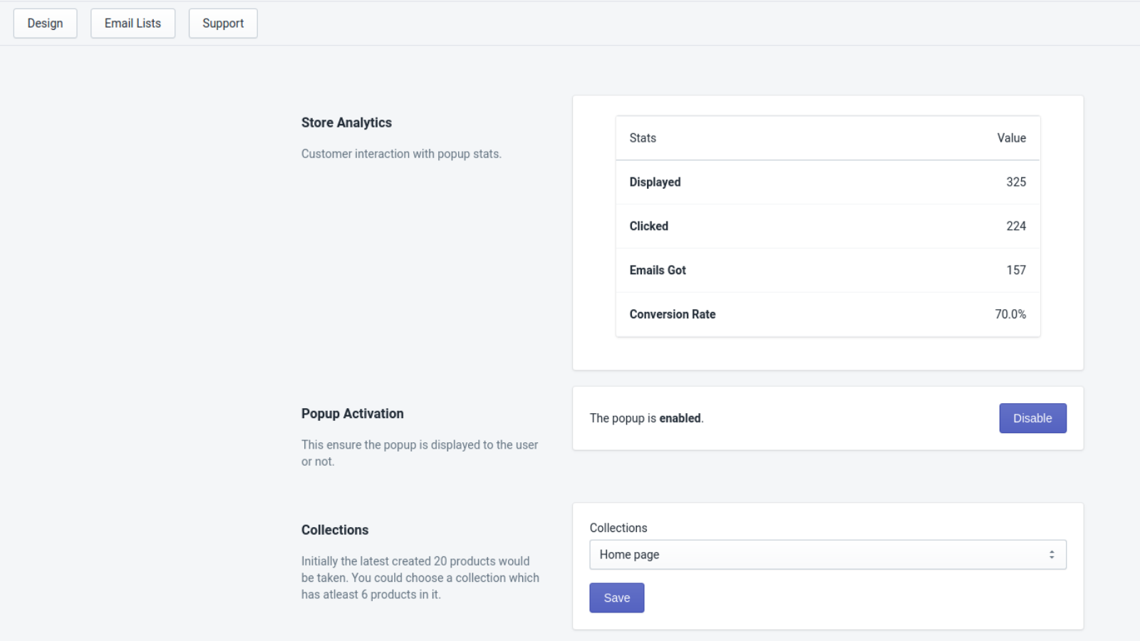 Admin Panel showing Dashboard Page