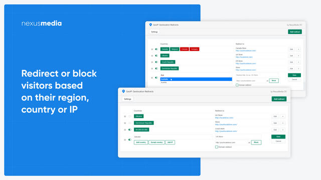 Redirect or block visitors based on their region, country or IP