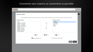Configure your export data as it suits your need