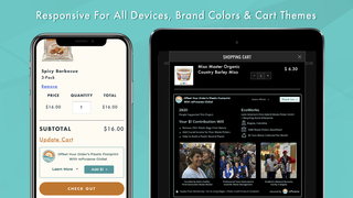 Responsive for all devices, brand colors and cart themes
