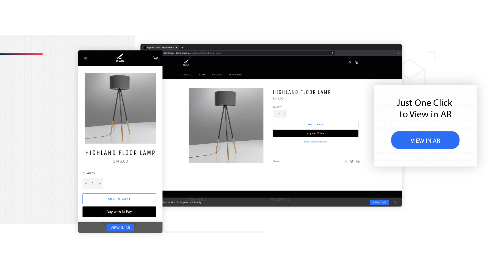 Customers can view the product in the levAR Viewer