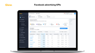 Facebook advertising KPIs in Glew, including ad spend, revenue