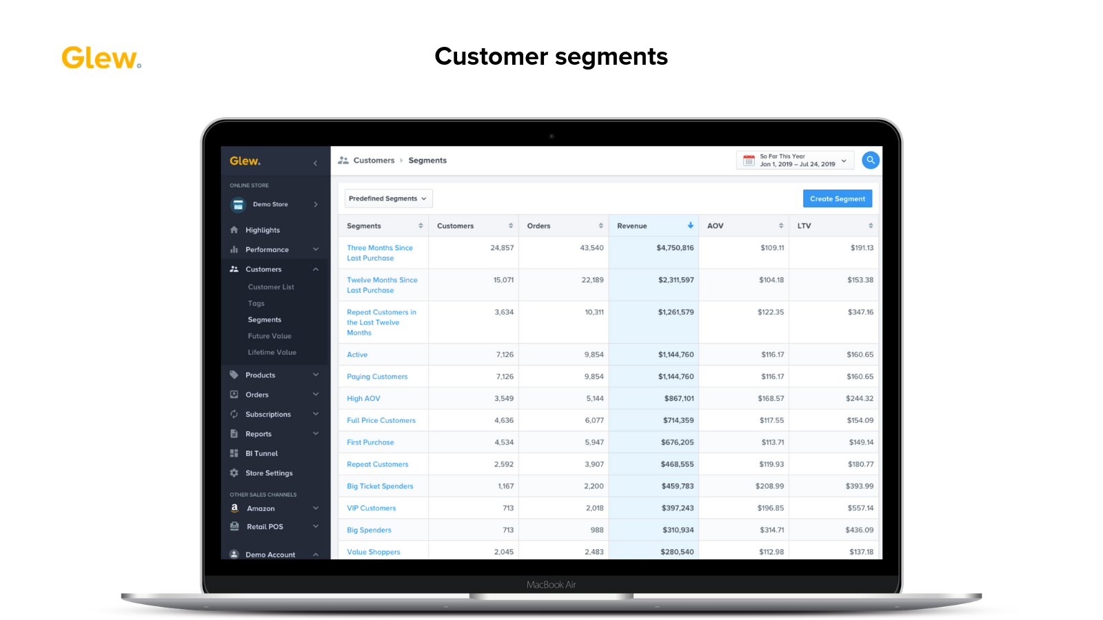 Customer segments in Glew, showing a list of available segments