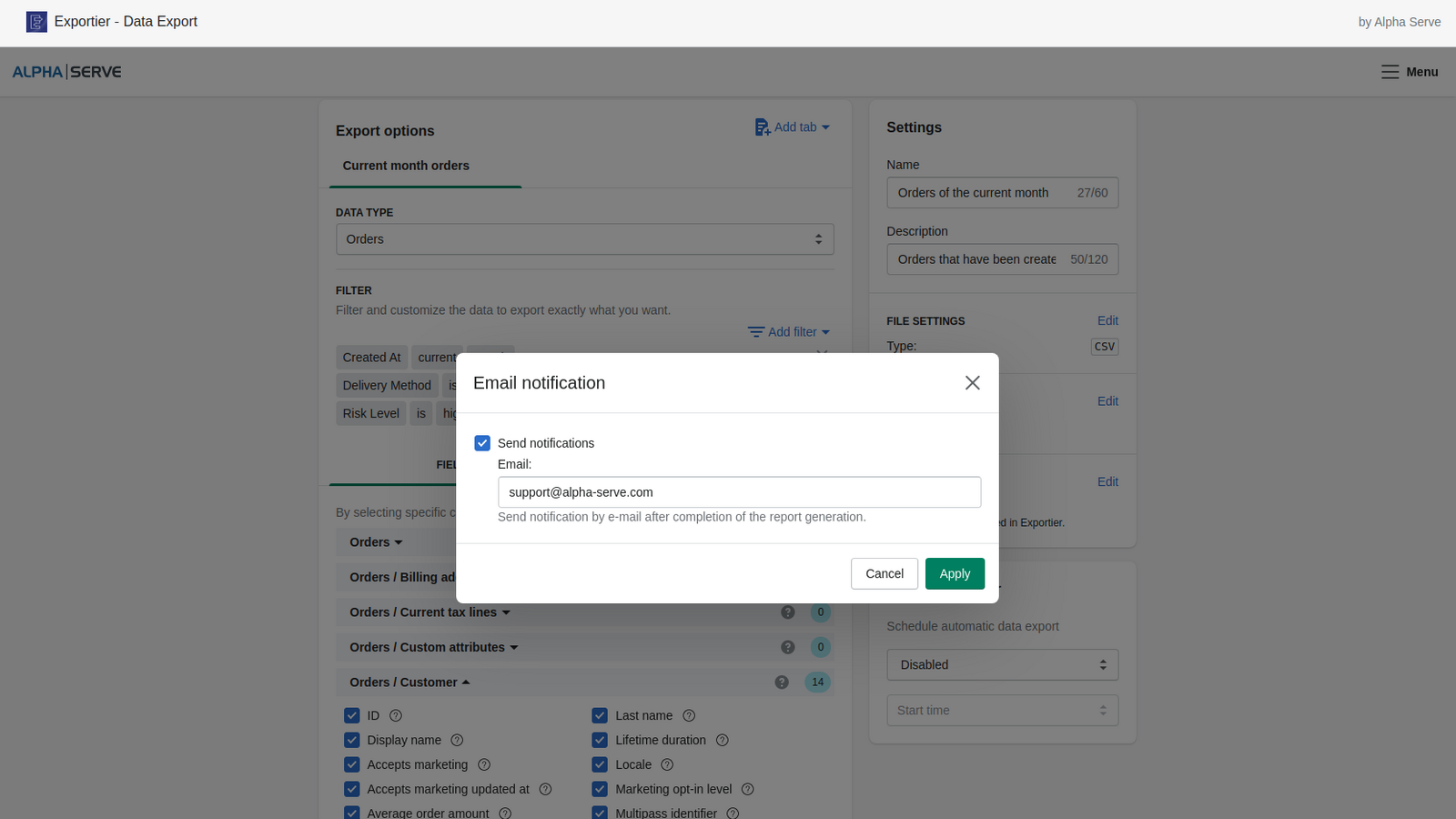 Get notified by email when your Shopify export data is prepared