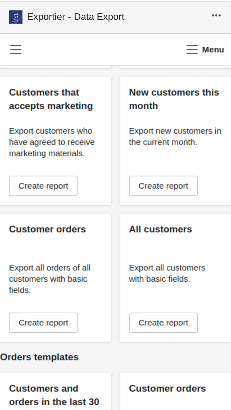Manage Shopify data export with advanced reports templates