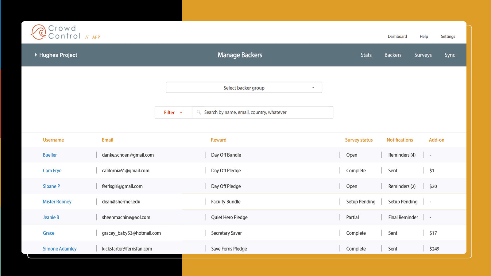 Overview of backer management and survey activity