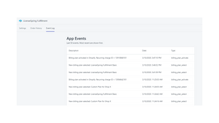 View history of app events