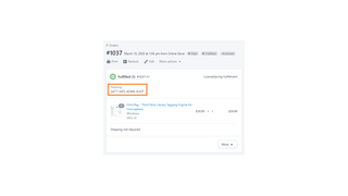 License keys are stored as tracking numbers in Shopify