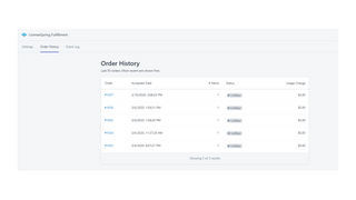 View history of orders processed by the app