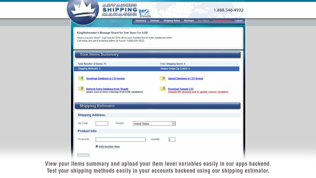 Summary Page of Advanced Shipping Manager