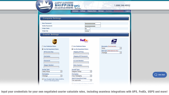 Company settings on Advanced Shipping Manager