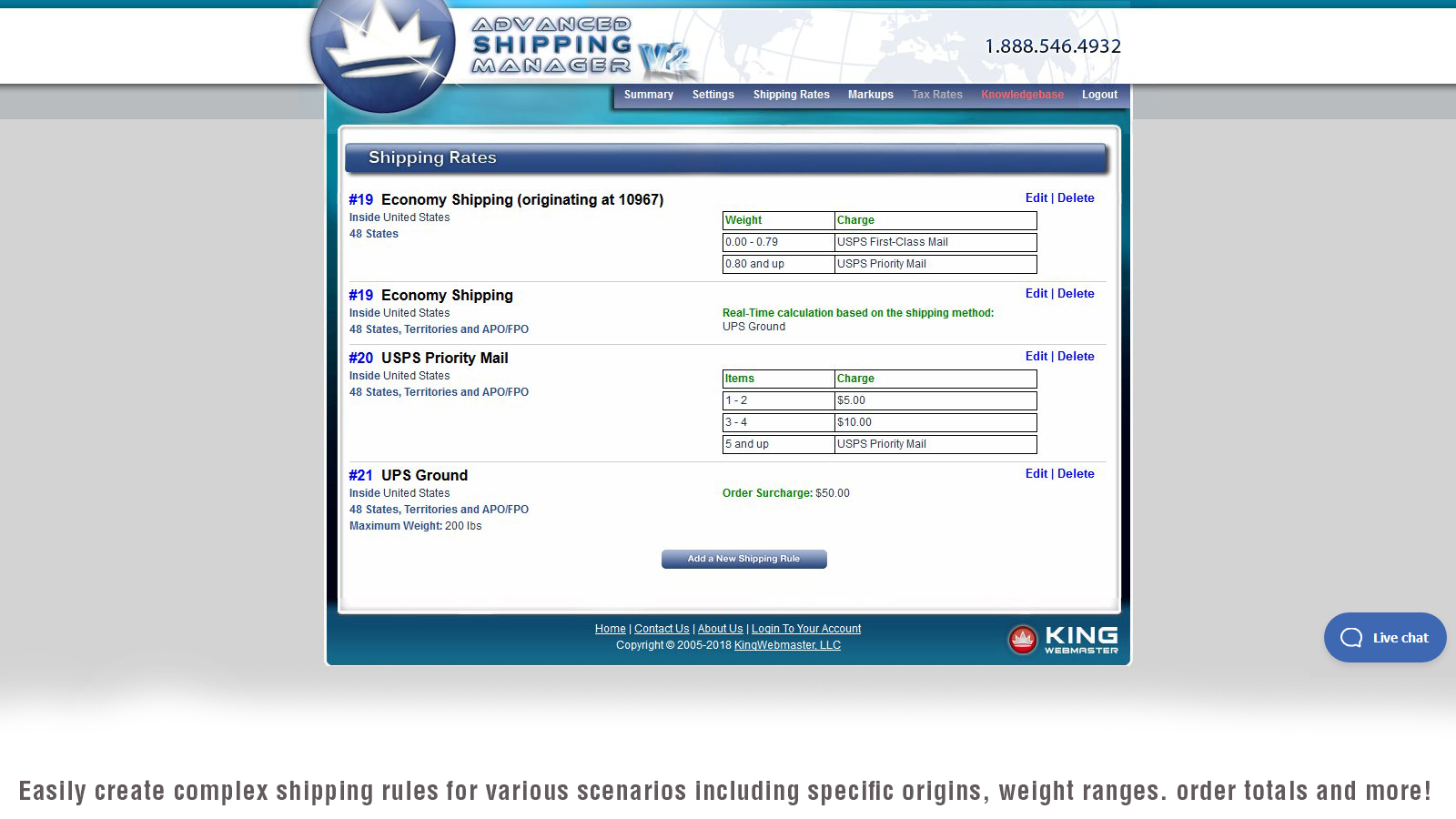 Shipping Rates on Advanced Shipping Manager