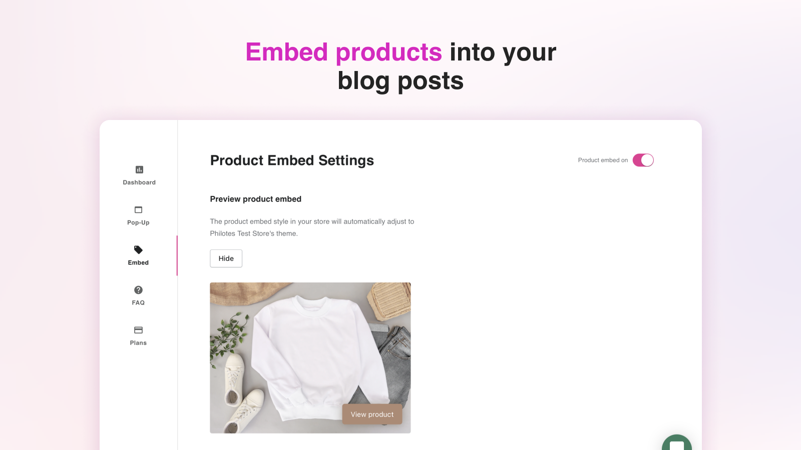 Embed products
