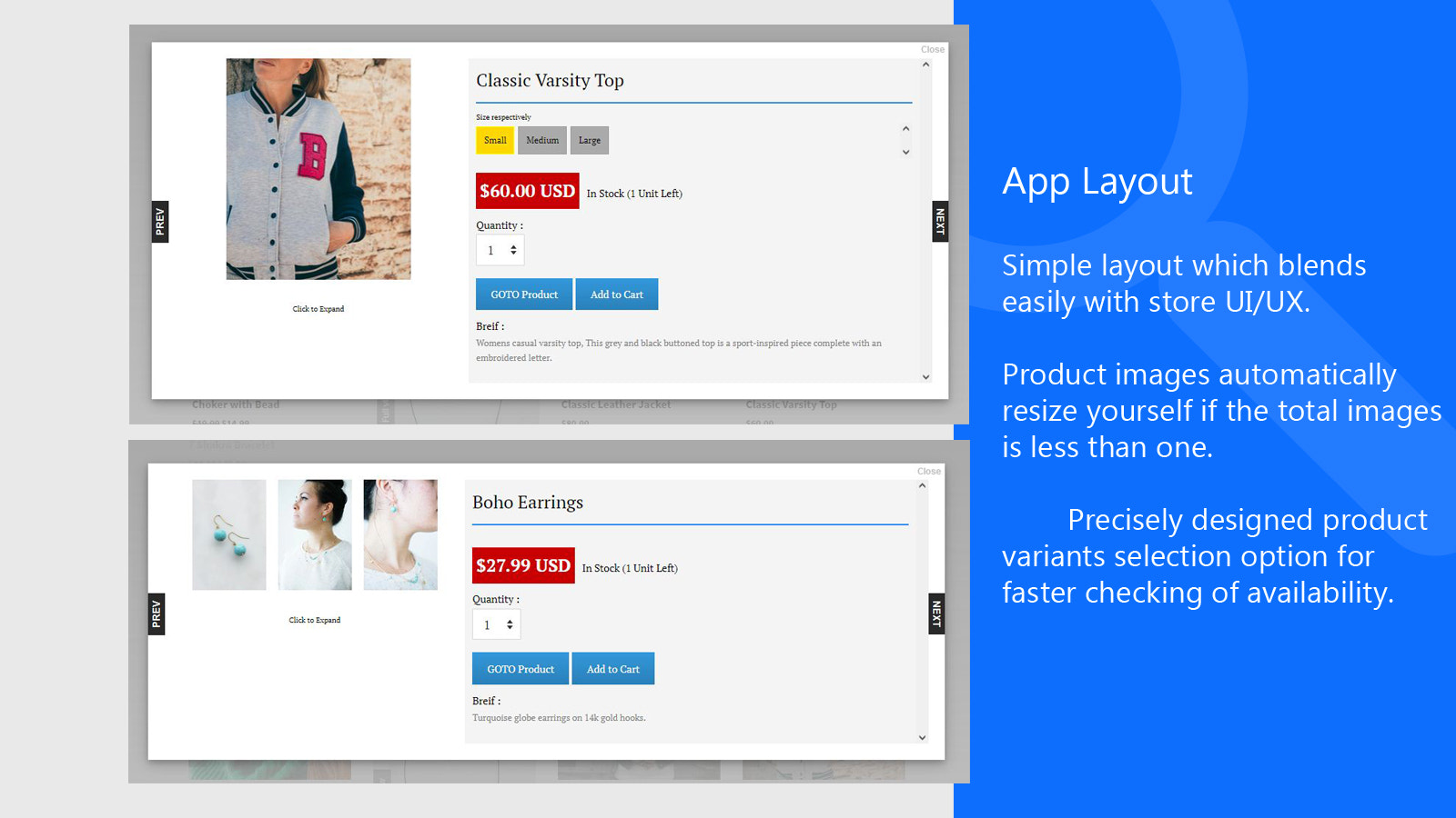 fast sell app layout