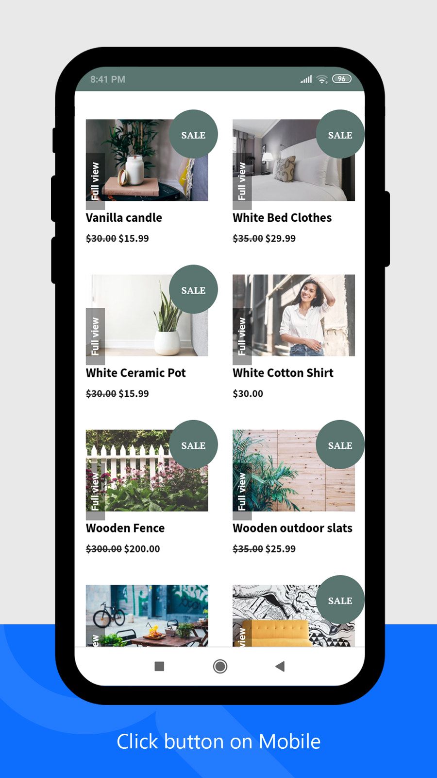 fast sell app click button (mobile / tablets)
