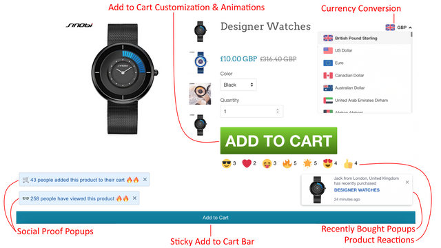 Sticky Add to Cart, Currency, ATC Button Customization Features