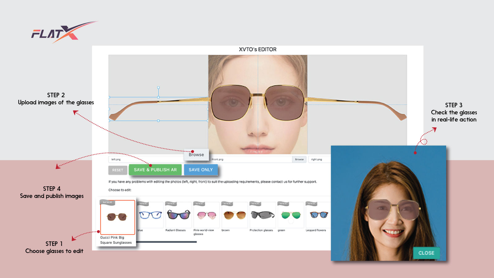 XVTO Vitural Tryon Glasses - Product Editor