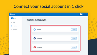 Connect to Facebook, Twitter, Pinterest