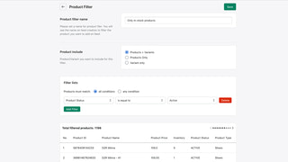 Feed Filter based on type, collection, tags, vendor