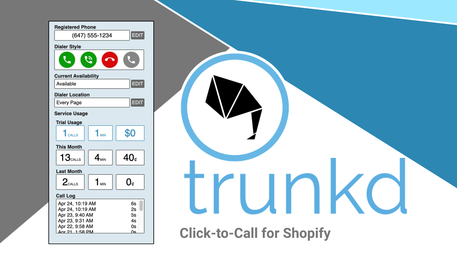 trunkd Click-to-Call Dashboard View