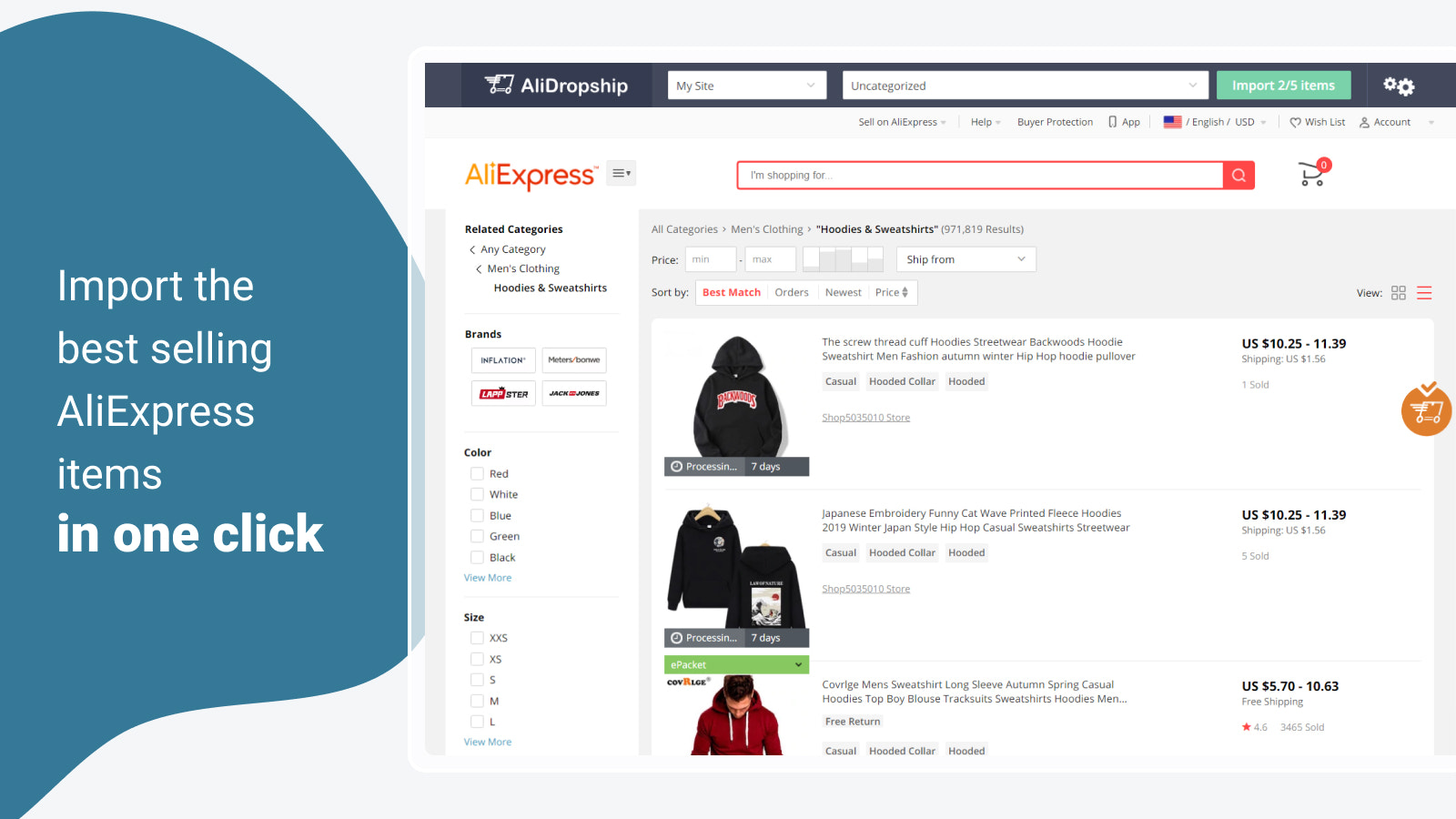 Import the best selling AliExpress items in one click