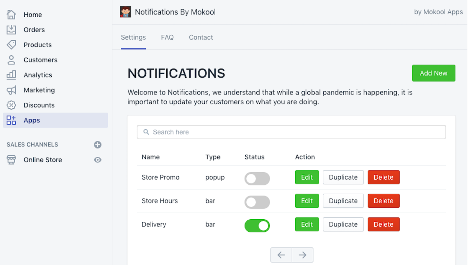 Easy to use Notifications menu