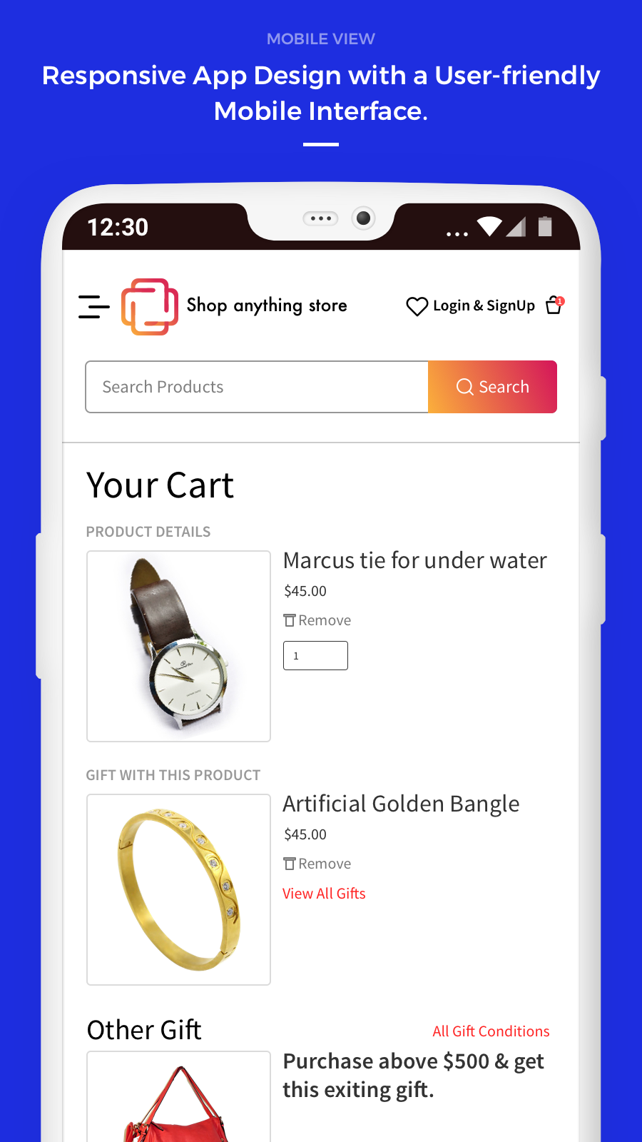 mobile view of cart page