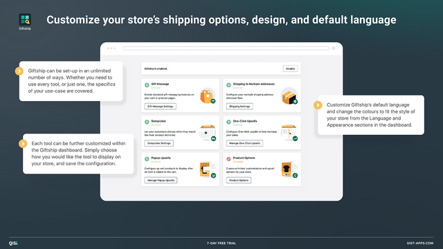 Choose which gifting options you would like to enable.