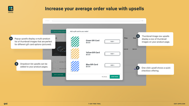 Increase your average order value with powerful upsell tools.