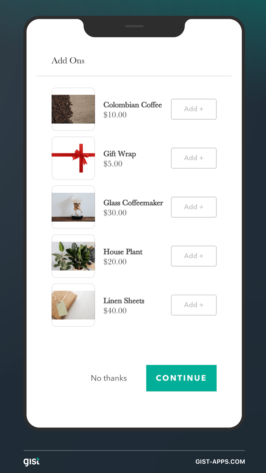 Add a gifting upsell to your order even on mobile.