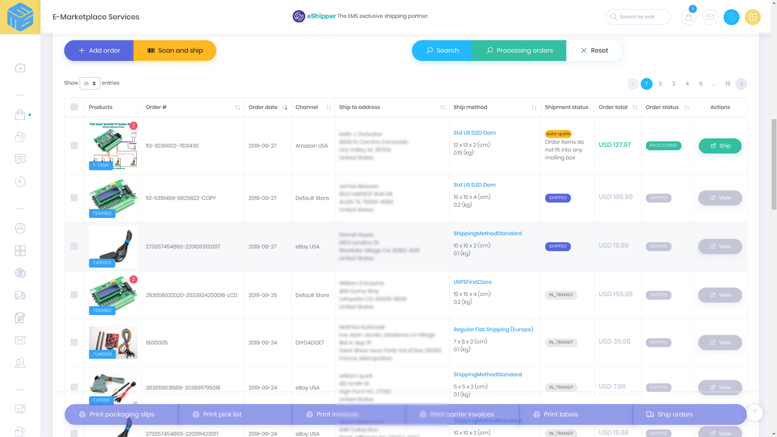 Centralized order list view
